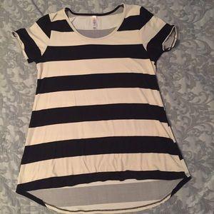 Lularoe black and white striped basic t shirt